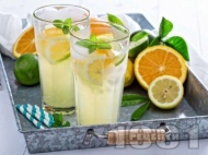Рецепта Освежаваща лимонада цитронада с лимон, портокал и мед